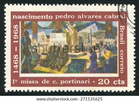 BRAZIL - CIRCA 1968: stamp printed by Brazil, shows  First Mass celebrated in Brazil, Pedro Alvares Cabral, circa 1968 - stock photo