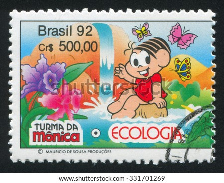 BRAZIL - CIRCA 1992: stamp printed by Brazil, shows  Flowers, waterfall, and, butterflies, circa 1992