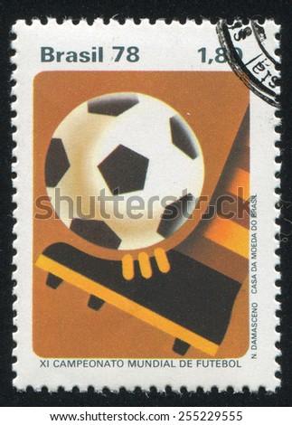 BRAZIL - CIRCA 1978: stamp printed by Brazil, shows  footballn, circa 1978 - stock photo