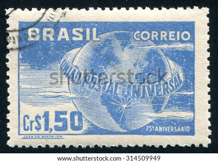 BRAZIL - CIRCA 1949: stamp printed by Brazil, shows  Globe, circa 1949 - stock photo