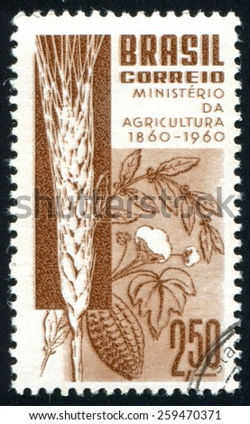 BRAZIL - CIRCA 1960: stamp printed by Brazil, shows  Grain Coffee Cotton and Cacao, circa 1960 - stock photo