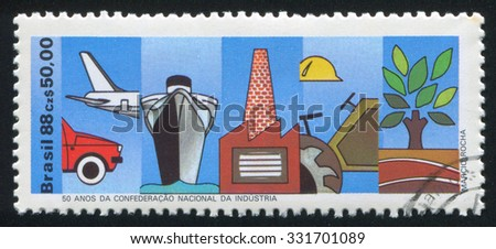 BRAZIL - CIRCA 1988: stamp printed by Brazil, shows  Industries, circa 1988