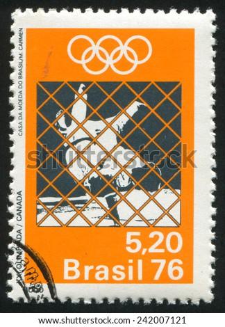 BRAZIL - CIRCA 1976: stamp printed by Brazil, shows  judo, circa 1976 - stock photo