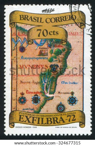 BRAZIL - CIRCA 1972: stamp printed by Brazil, shows  Map of Brazil, by Diego Homem, circa 1972