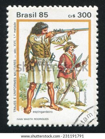 BRAZIL - CIRCA 1985: stamp printed by Brazil, shows  Military Uniforms, circa 1985 - stock photo