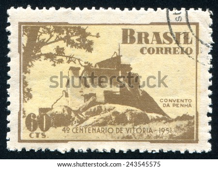 BRAZIL - CIRCA 1951: stamp printed by Brazil, shows  Monastery of the Rock, circa 1951 - stock photo