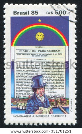 BRAZIL - CIRCA 1985: stamp printed by Brazil, shows  newspaper, circa 1985 - stock photo