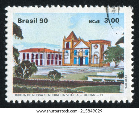 BRAZIL - CIRCA 1990: stamp printed by Brazil, shows  Our Lady of Victory Church, circa 1990
