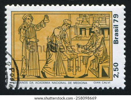 BRAZIL - CIRCA 1979: stamp printed by Brazil, shows  Physician Tending Patient, circa 1979 - stock photo