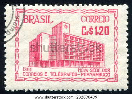BRAZIL - CIRCA 1950: stamp printed by Brazil, shows Post Office at Recife, circa 1950 - stock photo