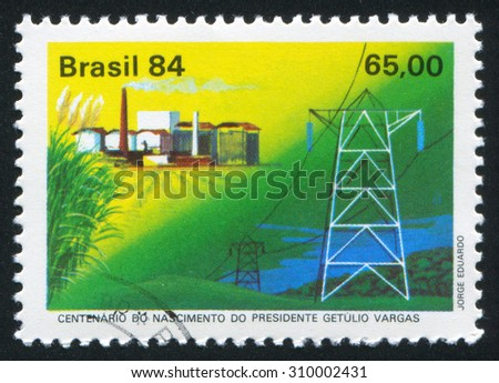 BRAZIL - CIRCA 1984: stamp printed by Brazil, shows  power plant, circa 1984 - stock photo