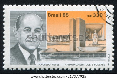 BRAZIL - CIRCA 1985: stamp printed by Brazil, shows  President elect Tancredo Neves, circa 1985 - stock photo