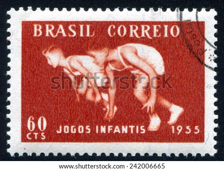 BRAZIL - CIRCA 1955: stamp printed by Brazil, shows  runner, circa 1955 - stock photo