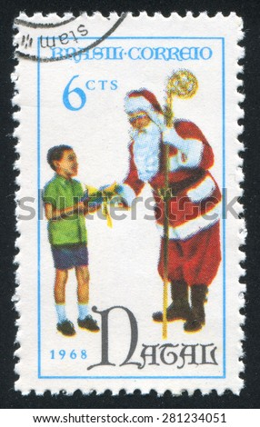 BRAZIL - CIRCA 1968: stamp printed by Brazil, shows  santa claus and child, circa 1968
