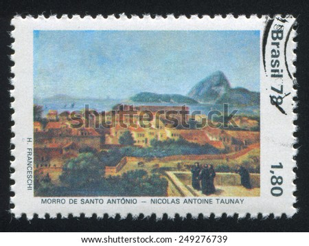 BRAZIL - CIRCA 1978: stamp printed by Brazil, shows  St. Anthony Hill, by Nicholas A. Taunayn, circa 1978 - stock photo