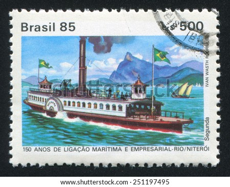 BRAZIL - CIRCA 1985: stamp printed by Brazil, shows steamboat, circa 1985 - stock photo