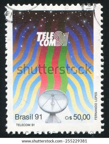 BRAZIL - CIRCA 1991: stamp printed by Brazil, shows  telecommunications, circa 1991 - stock photo