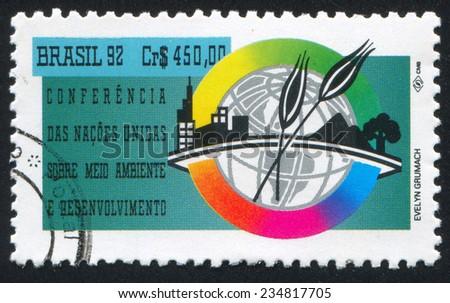 BRAZIL - CIRCA 1992: stamp printed by Brazil, shows  UN Conference on Environmental Development Rio de Janeiro, circa 1992 - stock photo