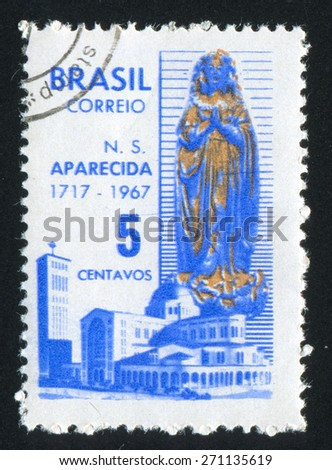 BRAZIL - CIRCA 1967: stamp printed by Brazil, shows  Virgin of the Apparition and Basilica of Aparecida, circa 1967 - stock photo