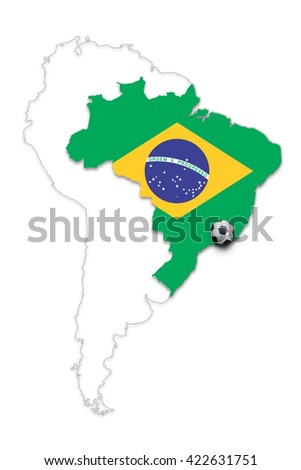 Brazil country map with Brazil flag and soccer ball isolated on white. Brazil football with soccer ball copy space illustration background.
