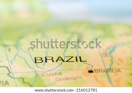 brazil country on map - stock photo