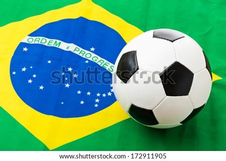 Brazil Flag and football - stock photo