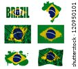 Brazil flag and map in different styles in different textures - stock photo