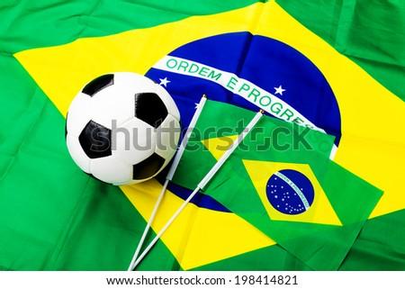 Brazil Flag and soccer ball  - stock photo