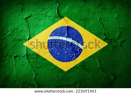 Brazil flag and wall background
