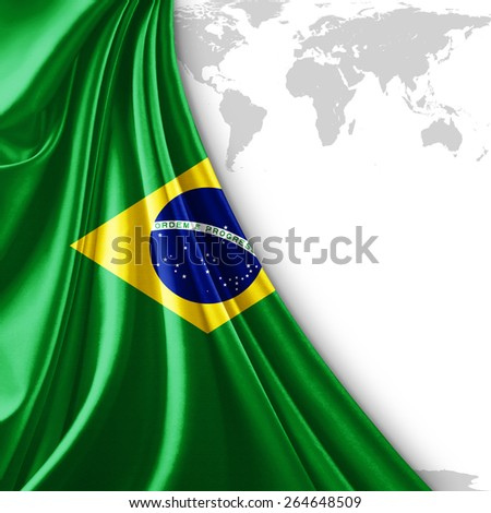 Brazil flag and world map background - stock photo