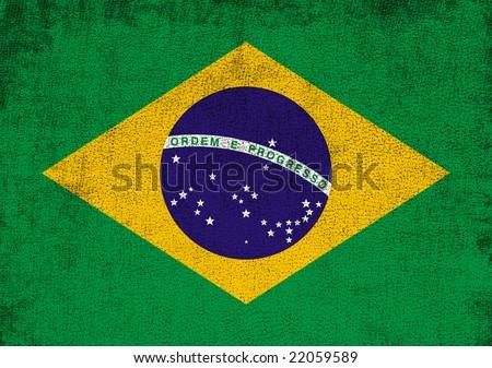 Brazil flag. Grunge style. - stock photo