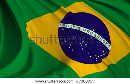 Brazil flag HI-RES collection - stock photo