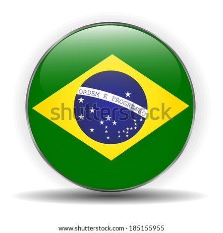 Brazil flag icon - stock photo
