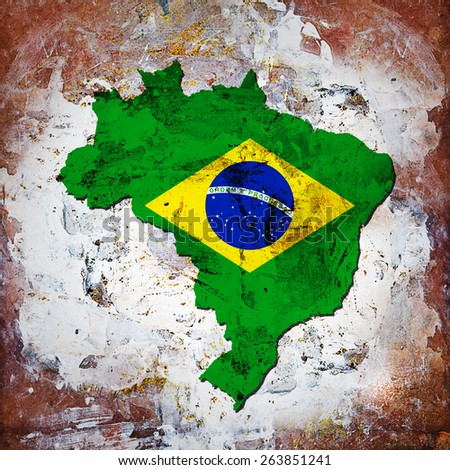 brazil flag,map and wall background - stock photo