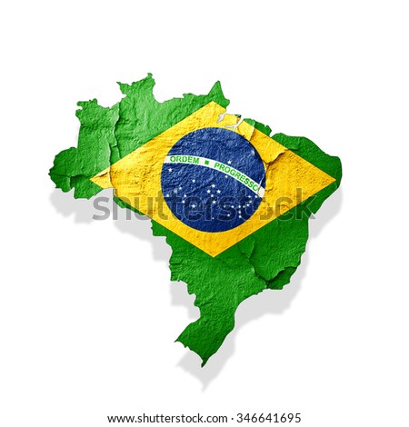 Brazil flag,map of wall  with copyspace for your text or images and white background