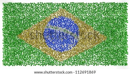 Brazil flag of precious stones diamont sapphire, amber - stock photo