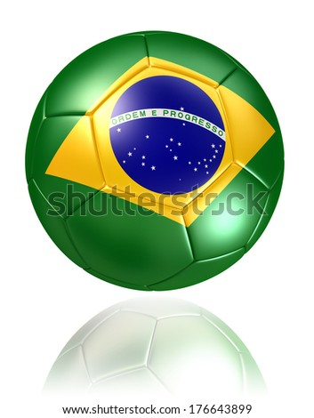 brazil flag on soccer ball on white background. clipping path included
