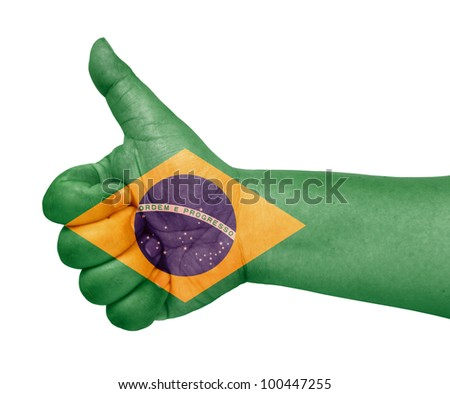 Brazil flag on thumb up gesture  like icon - stock photo