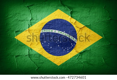 Brazil Flag painted on grunge wall-3D illustration