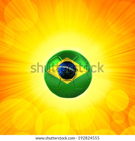 brazil flag soccer ball sun rays and yellow background