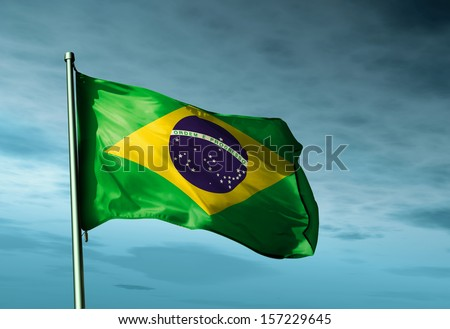 Brazil flag waving in the evening - stock photo