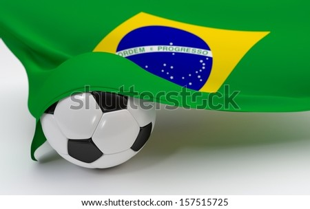 Brazil flag with championship soccer ball - stock photo