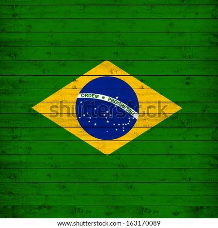 brazil flag , wood background - stock photo