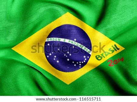 Brazil flag 2014 wrinkled - stock photo