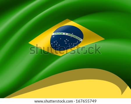 Brazil flag, yellow background