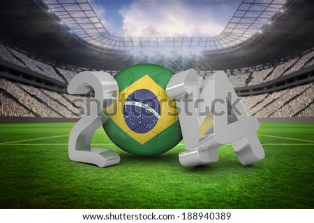 Brazil football stadium with fans in white - stock photo