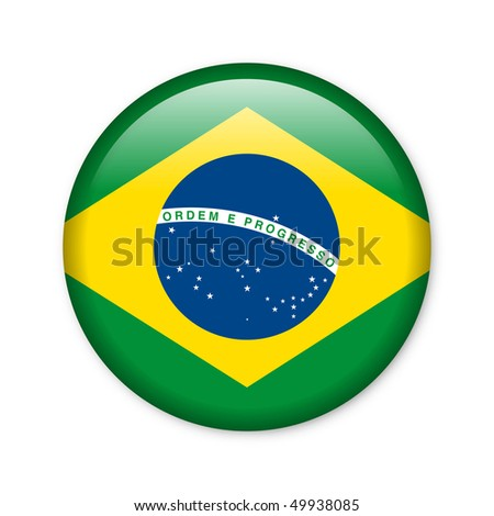 Brazil - glossy button with flag - stock photo