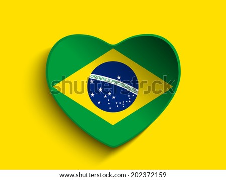 Brazil 2014 Heart with Brazilian Flag - stock photo