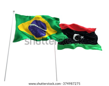 Brazil & Libya Flags are waving on the isolated white background - stock photo