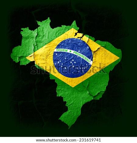 Brazil map  and dark green background - stock photo